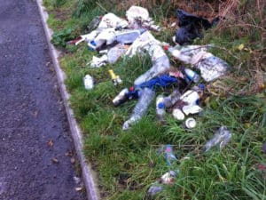 Litter at Stoborough Layby before one of the team picked it up.