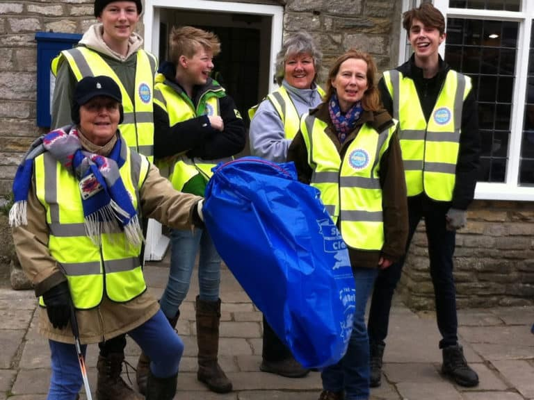 Clean Up Corfe doing their bit for the Great British Spring Clean 2017.