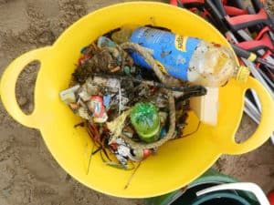 Just some of the litter collected on Swanage Beach.