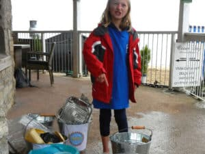 Charlotte's not impressed with what people leave behind on Swanage Beach - #acleanerPurbeckforourkids 10th August 2017.