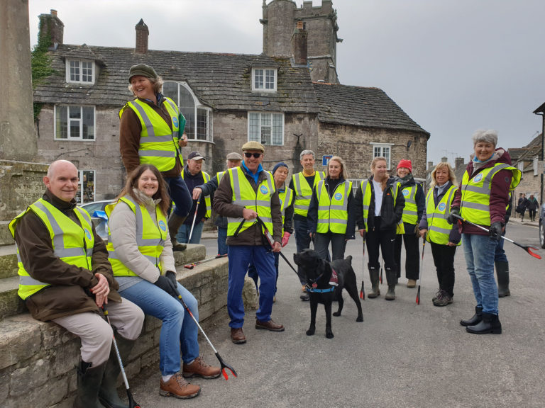 Clean Up Corfe doing their bit for The Great British Spring Clean 7th April 2019.