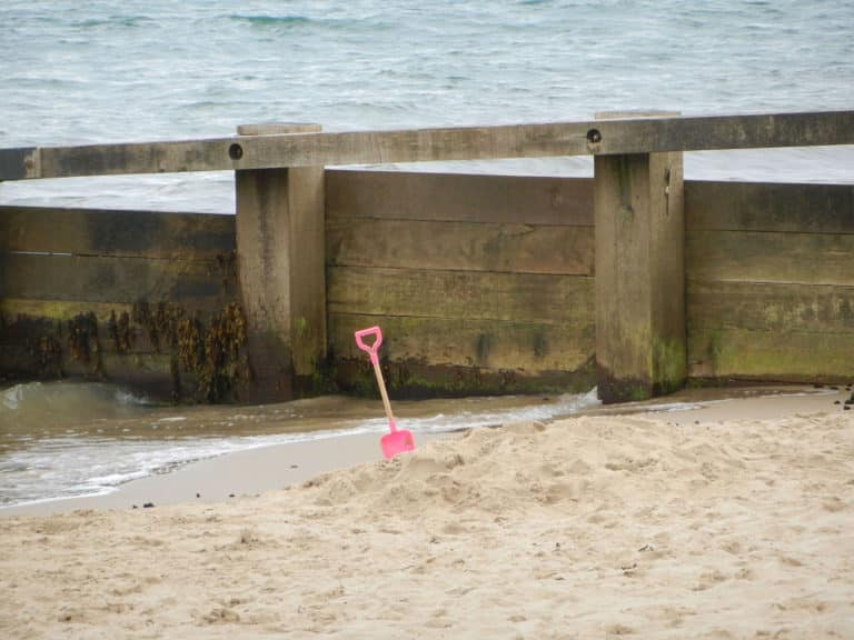 Forgotten (unwanted?) spade on Swanage Beach.